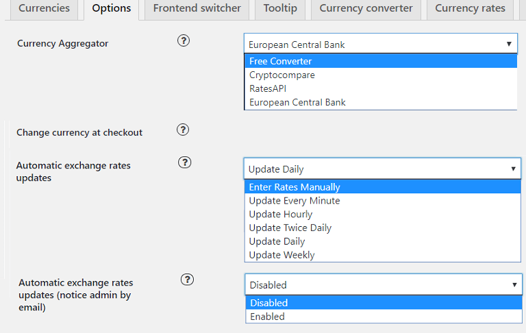 Manual and Automatic exchange rate - WooBeWoo