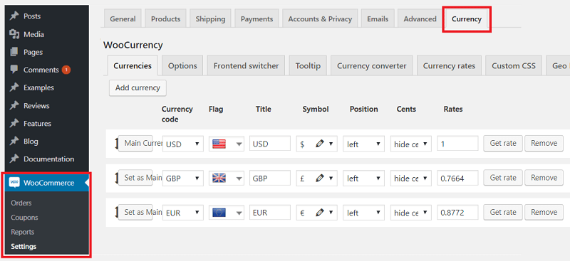 Currency plugin location