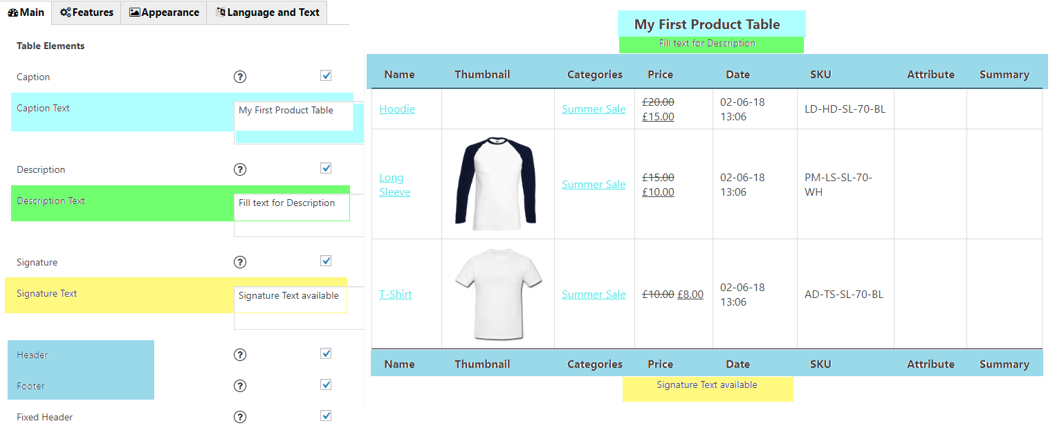 Product table example