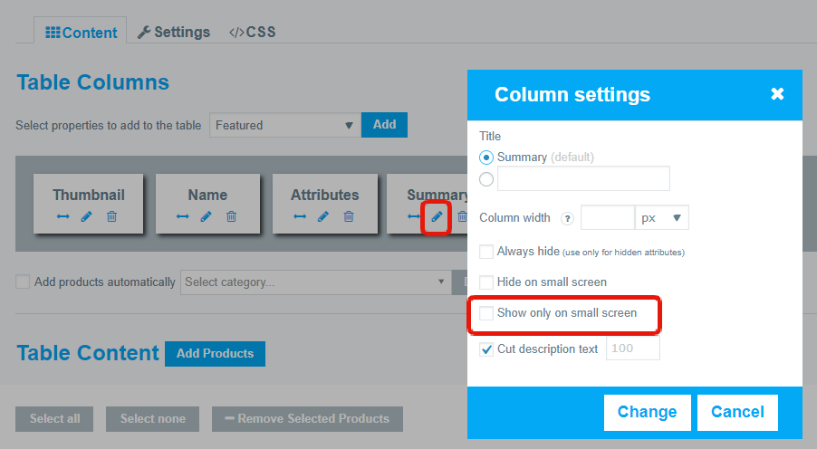 Column Settings