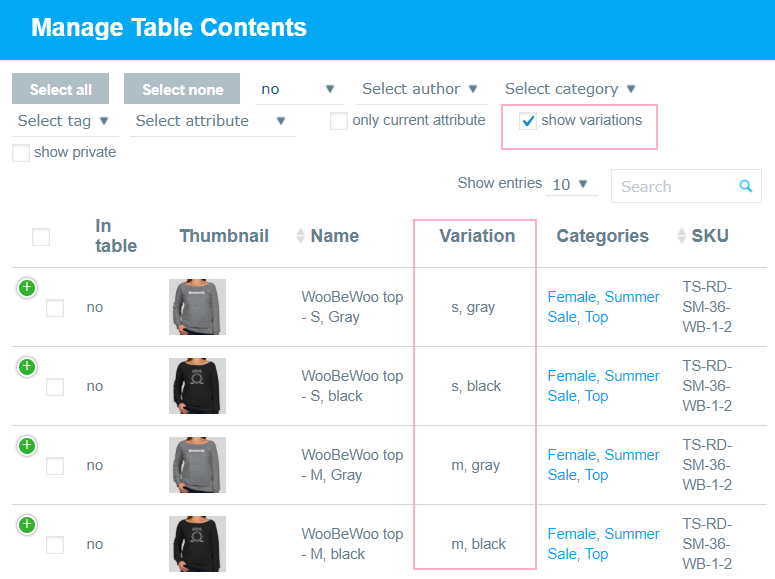 Adding Products to a Table
