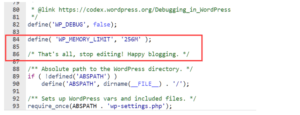 code for increase mamory in wordpress article