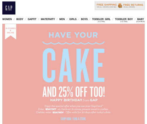 Discount Birthday email