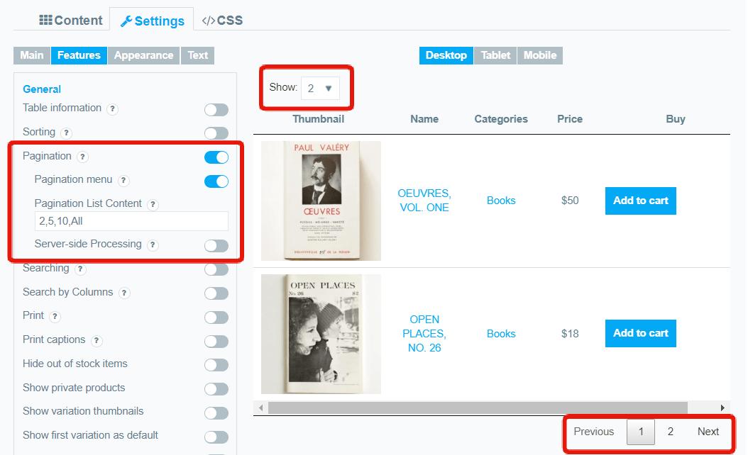 pagination-options