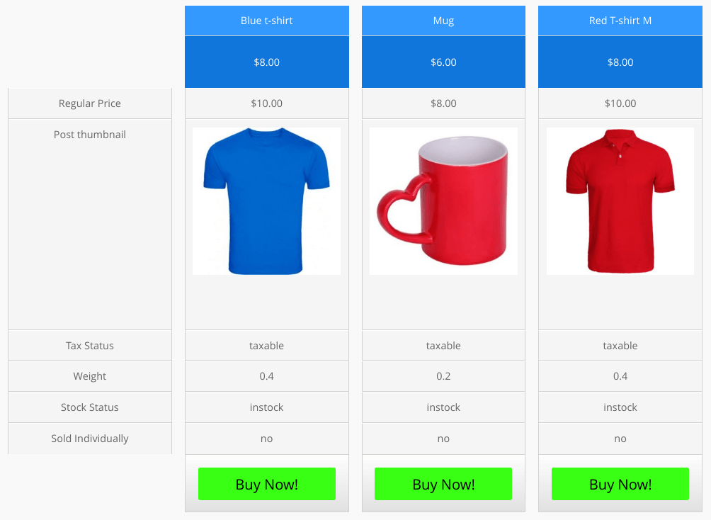 woo pricing table