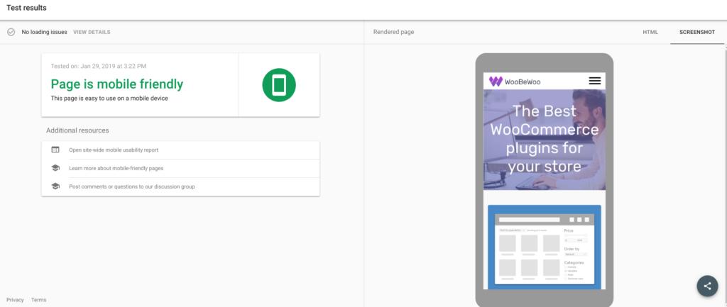Google's Mobile Test tool