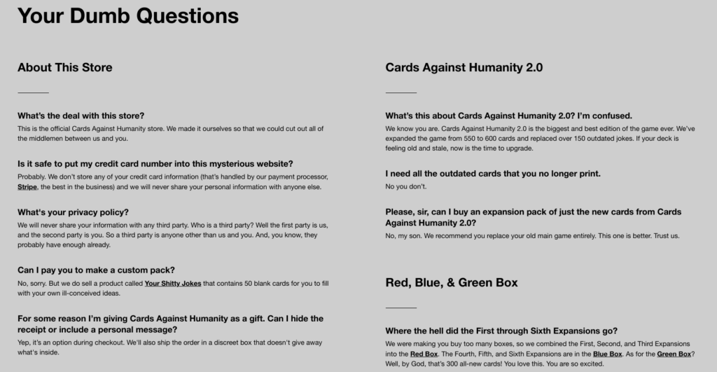 Cah store FAQ page