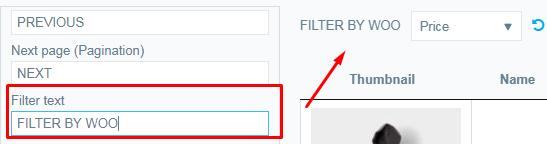 Filter text