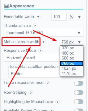 Mobile Screen width