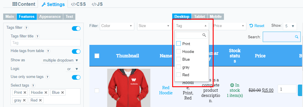 Product table filter tags