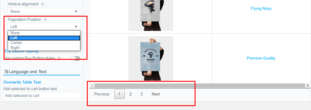 Example Pagination Button Positions on the Left