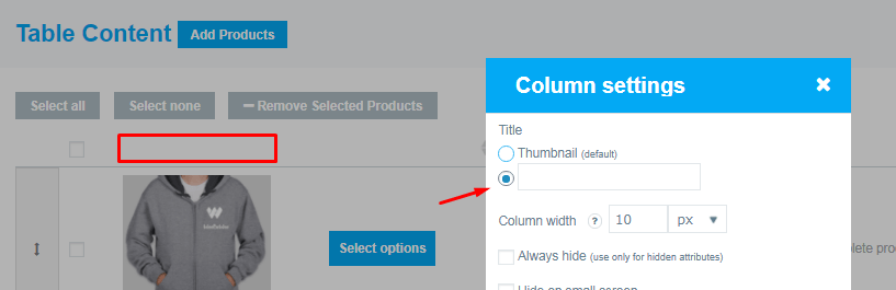 change / delete the title of columns