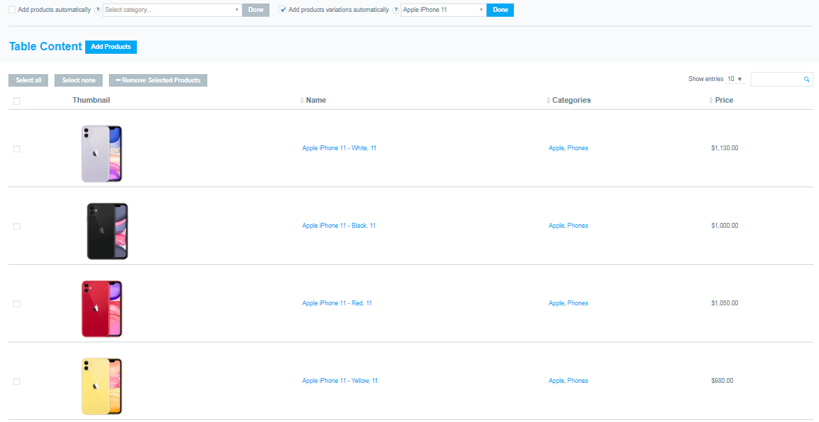 Add products variations automatically