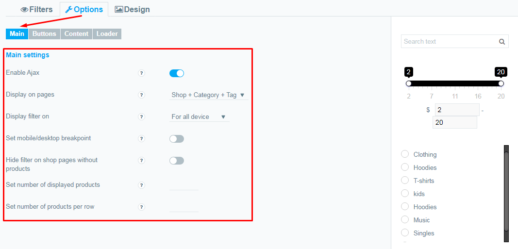 Options Main tab