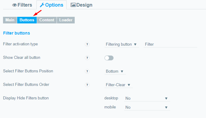 Options Buttons tab