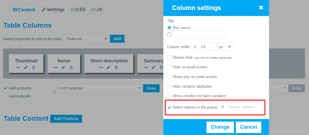 Select options in the popup