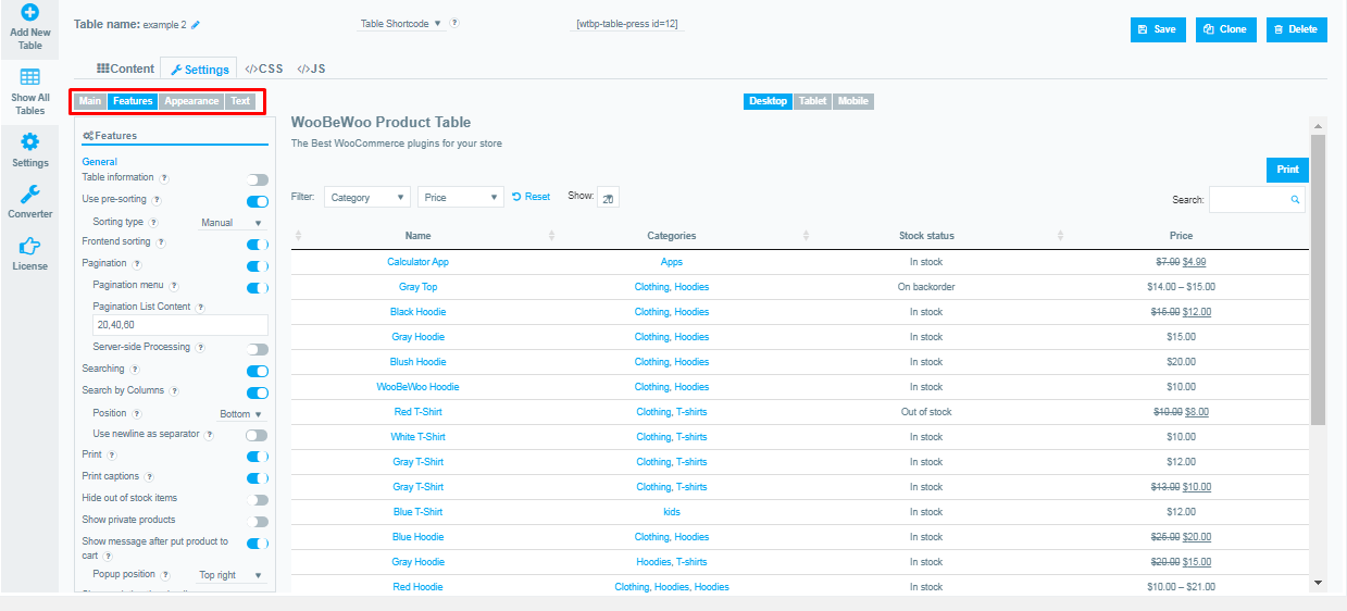 WooBeWoo Product Table