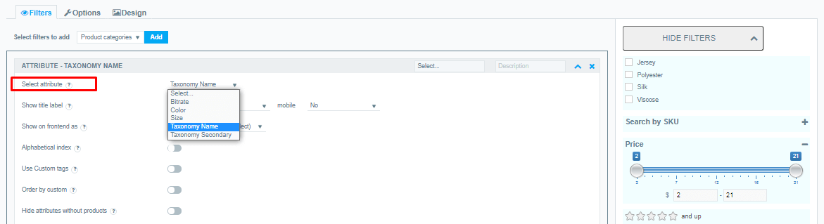 Add a custom taxonomy to the product filter.