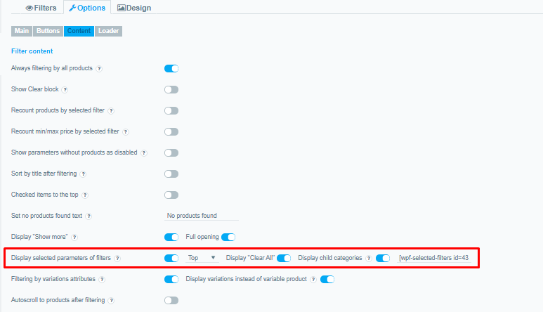 Selected filters are not highlighted