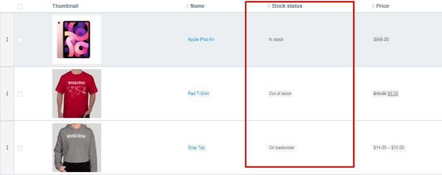 stock status column