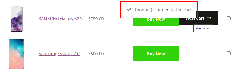 message after put product to cart